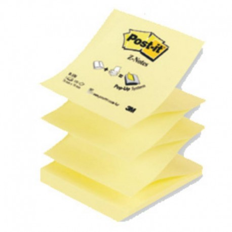 Nr.12x BLOCCO 100FG POST-IT Z-NOTES R330 GIALLO CANARY™ 76X76MM