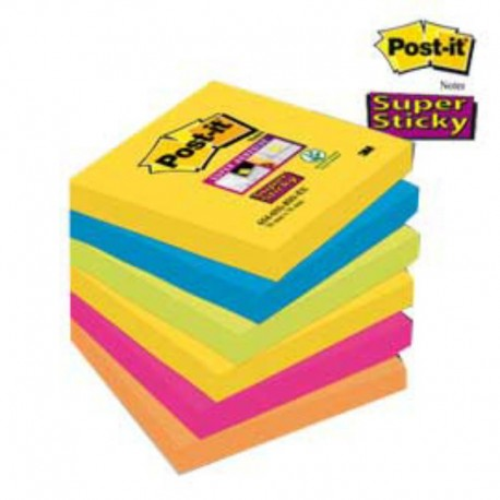Nr.12x BLOCCO 90FOGLIETTI POST-IT® SUPER STICKY 76X76MM 654-6SS RIO-EU RIO DE JA