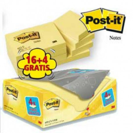 VALUE PACK 16+4 BLOCCO 100FG POST-IT® GIALLO CANARY™ 38X51MM 72GR 653CY-VP20